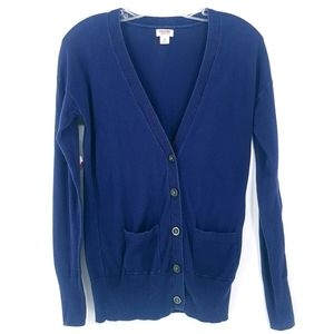 MOSSIMO Navy Blue Button Up VNeck Cotton Cardigan
